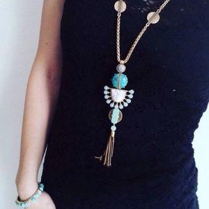 Stella & Dot Totem Tassel Turquoise Necklace
